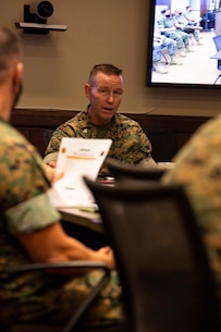 U.S. Marine Corps Col. Corey M. Collier, Commanding Officer of Marine Corps Security Forces Regiment (MCSFR), answers questions during a commander's conference meeting debrief, Sept. 30, 2020, Naval Weapon Station, Yorktown, Virginia. The commander's conference presented senior leadership with a forum to discuss naval integration, force design, professional military education, and the future of the Marine Corps. During the two-day meeting, commanders from across MCSFR and MARFORCOM reviewed strategic guidance and discussed force design implementation affecting Fleet Marine Forces. (U.S. Marine Corps photo by Sgt. Desmond Martin/released)