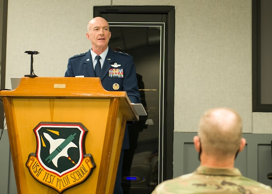 Air Force Test Center Commander, Maj. Gen. Christopher Azzano, says remarks during the Multi-Domain Test Force Detachment 1 activation ceremony