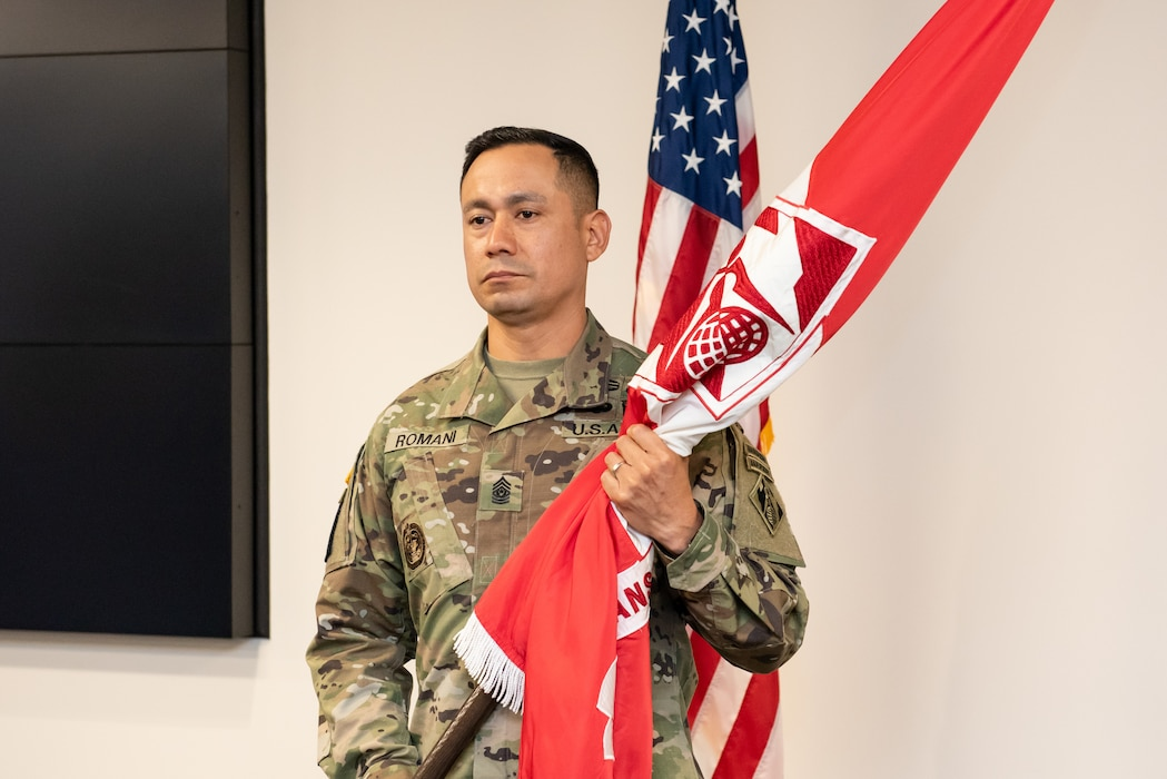 CSM Delfin Romani assumed the role of the Transatlantic Division's Command Sergeant Major during a Change of Responsibility Ceremony