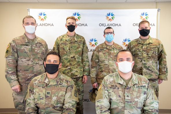 From left to right with the Oklahoma National Guard defensive cyber operations element, Chief Warrant Officer 2 Tyson Joachims, Capt. Danny Slusarchuck, Sgt. Sean Singley, Staff Sgt. Rick Raper, Sgt. Brandon Dixon, and Tech Sgt. Craig Brown, mission defense team noncommissioned officer in charge with the 137th Special Operations Communications Flight, won the online 2020 NetWars Cyber Shield competition Sept. 18-19, 2020.