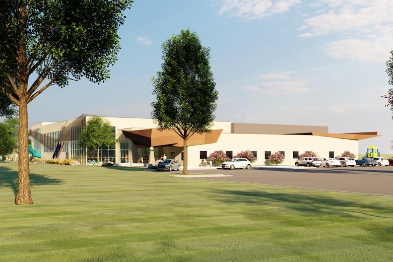 A 3-D design of the proposed aquatics and recreation center.