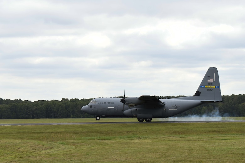A C-130 lands at All American drop-zone.