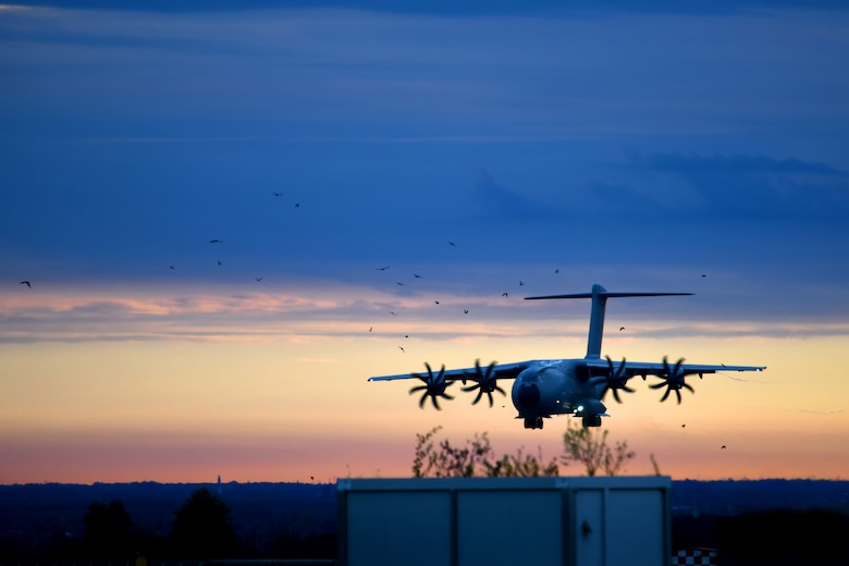 A Spanish air force Airbus A400M approaches for landing at Aviano Air Base, Italy, Sept. 28, 2020. U.S. Airmen assigned to the 31st Aircraft Maintenance Squadron and 510th Fighter Squadron returned from a flying training deployment to Royal Air Force Lakenheath, United Kingdom. (U.S. Air Force photo by Staff Sgt. K. Tucker Owen)