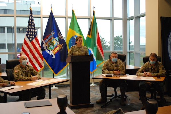 Maj. Amy Crounse, New York National Guard State Partnership Program officer, begins a videoconference with representatives from Brazil to discuss how the two sides responded to COVID-19, New York National Guard Headquarters, Latham, N.Y., Sept. 29, 2020. The New York Guard and Brazil's military work together under the State Partnership Program.