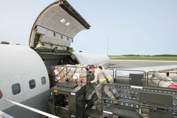 A load team from the 436th Aerial Port Squadron loads a pallet of equipment onto an Israeli air force Boeing 707 Sept. 15, 2020, at Dover Air Force Base, Delaware, as part of a foreign military sales operation. Over the past 70 years, the U.S. and Israel have developed unbreakable bonds through cooperation in security, economics and business, scientific research and innovation and people-to-people exchanges. Due to its strategic location, Dover AFB regularly supports foreign military sales operations. (U.S. Air Force photo by Mauricio Campino)