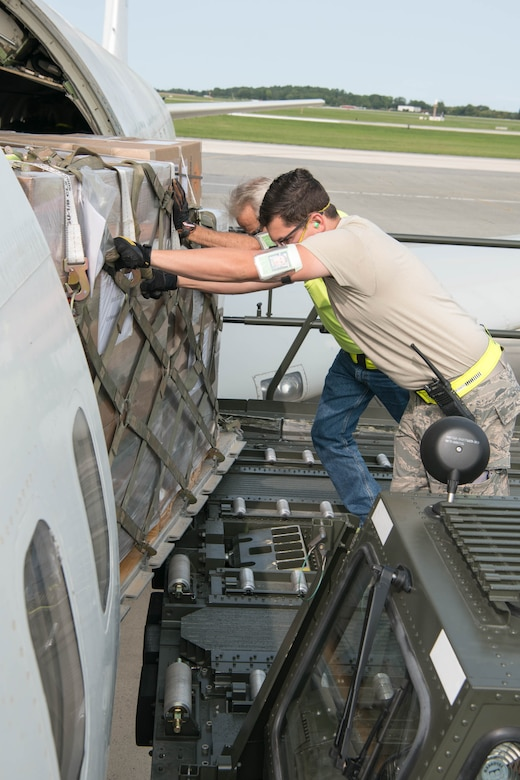 A load team from the 436th Aerial Port Squadron loads a pallet of equipment onto an Israeli air force Boeing 707 Sept. 15, 2020, at Dover Air Force Base, Delaware, as part of a foreign military sales operations. Due to its strategic location, Dover AFB regularly supports foreign military sales operations. Over the past 70 years, the U.S. and Israel have developed unbreakable bonds through cooperation in security, economics and business, scientific research and innovation and people-to-people exchanges. (U.S. Air Force photo by Mauricio Campino)