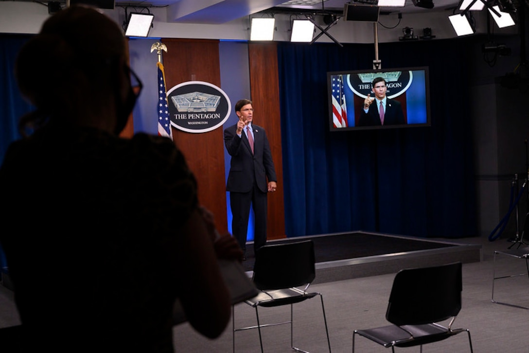 Defense Secretary Dr. Mark T. Esper records a video message for Suicide Prevention Month.