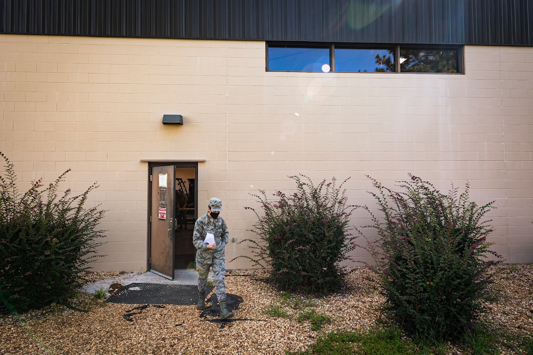 A photo of an Airman leaving the 23d LRS IPE section