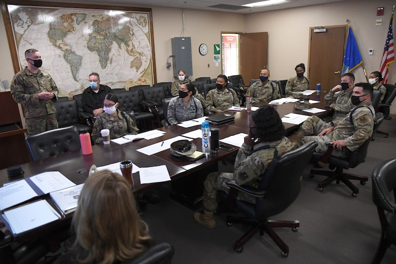 Members of the 81st Training Group attend the Continuous Process Improvement workshop inside Matero Hall at Keesler Air Force Base, Mississippi, October 1, 2020. The workshop included 81st TRG military training instructors discussing ways of improvement for current procedures being followed by focusing on maximizing value, minimizing waste, sharing best practices and standardizing across the 81st TRG whenever and where ever possible. (U.S. Air Force photo by Kemberly Groue)