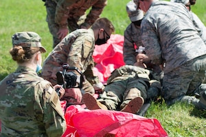 medical airmen in exercise