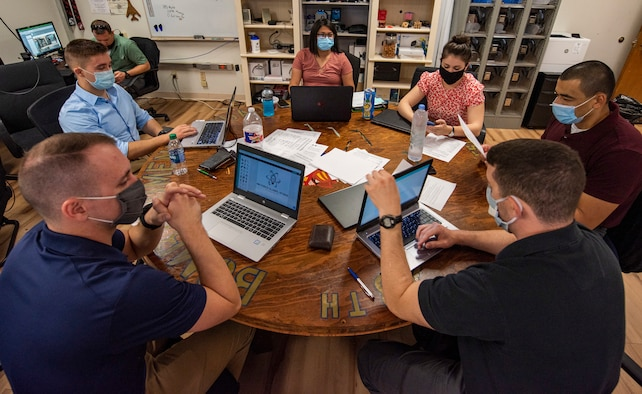 Leading for Innovation students work together on their project at Dyess Air Force Base, Texas, Sept. 16, 2020
