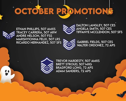 The October 2020 Enlisted Promotions graphic from the 507th Air Refueling Wing at Tinker Air Force Base, Oklahoma. (U.S. Air Force graphic by Senior Airman Mary Begy)