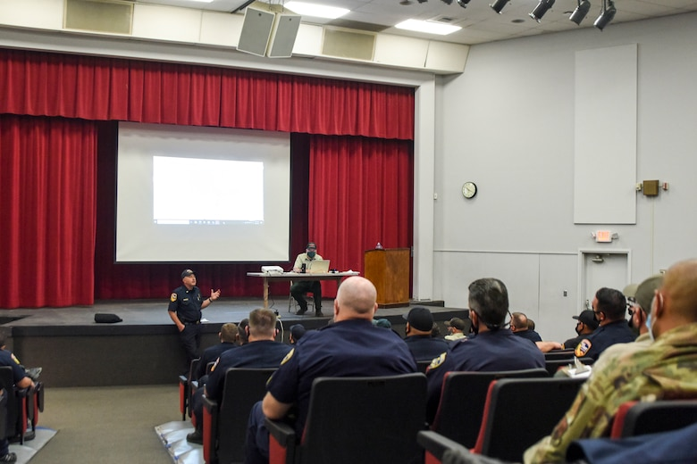 Members from Cal Fire, the National Forestry Service, the California National Guard, the Fresno Country Sheriff's Department, and other response organizations meet, Sept. 6, 2020, at Sierra High School in Tollhouse, Calif. which was used as the Creek Fire Emergency Operations Center and Incident Command Post.