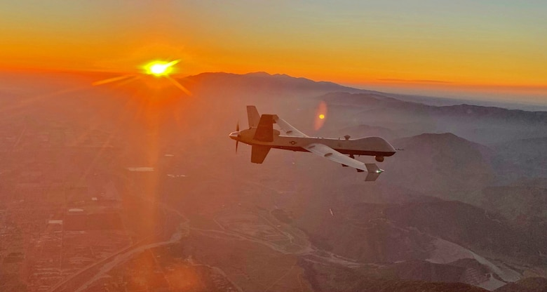 An MQ-9 Reaper remotely piloted aircraft flown by 163d Attack Wing pilot Lt. Col. Paul Brockmeier, with sensor operator Master Sgt. Anthony Martinez, views the smoky San Gabriel Mountains of southern California in transit to a fire mission in northern California, late August, 2020.