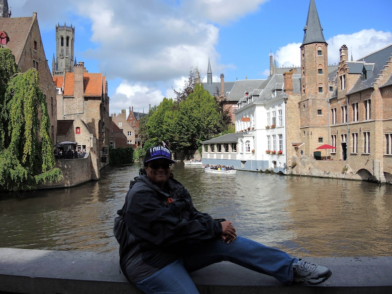 Candy Knight, Public Affairs Specialist for Headquarters Fourth Air Force, poses for a photo during a trip to Bruges, Belgium. (Courtesy photo by Candy Knight)