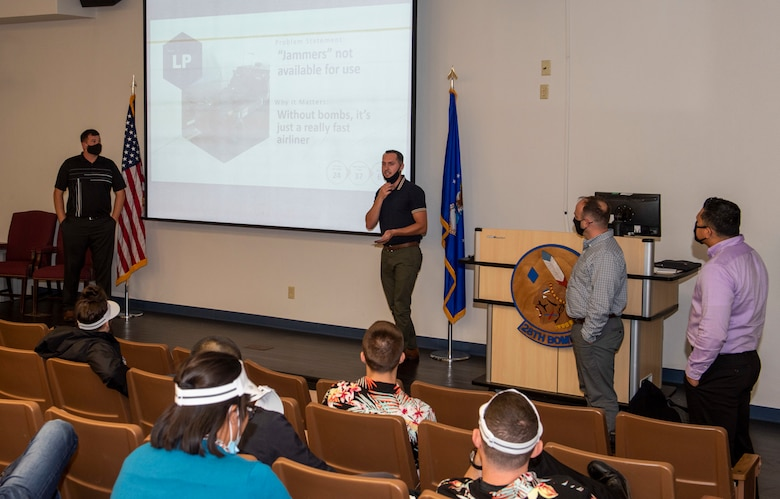 Students within the Leading for Innovation course give a presentation at Dyess Air Force Base, Texas, Sept. 10, 2020.