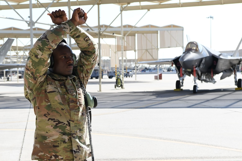 Reserve Citizen Airmen from the 944th Fighter Wing at Luke Air Force Base, Arizona, executed an F-35 Lightning II Missing Man formation flyover October 2, 2020. The mission over the Arizona State Capitol paid tribute to the late Maj. George Washington Biggs, U.S. Air Force (Ret.).