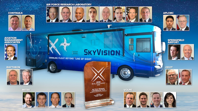 The SkyVision team, a joint effort between the Air Force Research Laboratory, Air Force Life Cycle Management Center, the state of Ohio, and industry partners, has been selected as the first-place winner in the Technology & Innovation (Hardware – Platform) category of this year's Association for Unmanned Vehicles Systems International (AUVSI) Awards. The award will be presented during the AUVSI XPONENTIAL event, being held virtually this year on Oct. 6. (U.S. Air Force Photo Illustration/Patrick Londergan)
