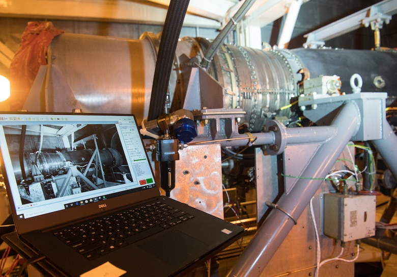 The feed from a high-speed camera is displayed on a laptop in software that uses the video to analyze vibrations, Sept. 1, 2020, in the sea-level test cell SL-1 at Arnold Air Force Base, Tenn. (U.S. Air Force photo by Jill Pickett)