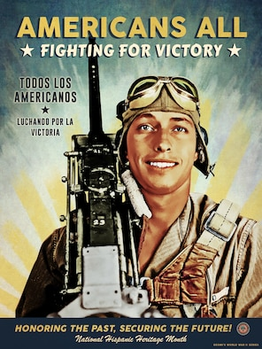 """The poster depicts Staff Sgt. Ladislao """"L.C."""" Castro, the assistant engineer and waist door .50 caliber gunner on a B-24 Liberator bomber named """"T-Bar"""" of the """"Flying Eightballs"""" in the 506th Squadron, 44th Bombardment Group (Heavy), 8th Air Force. We celebrate him in correlation with National Hispanic Heritage Month, formerly known as Hispanic Heritage Week, has been celebrated for more than 50 years and dates back to 1968. In 1988, during the President Ronald Reagan administration the observance period, that was once only a week extended to a month and received its new name. Since then, National Hispanic Heritage Month begins every 15th of September and ends the 15th of October. During this month members pay respect to the Americans who sacrificed themselves for this nation."""