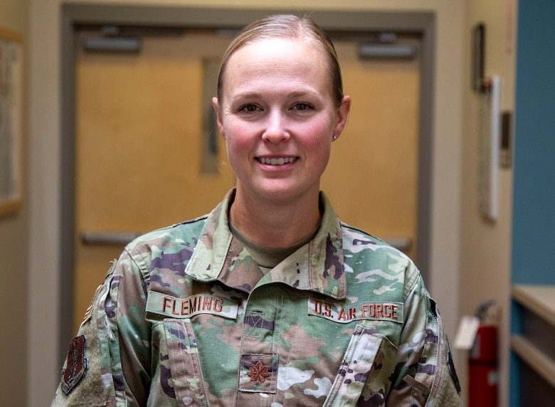Maj. Lyndsey Fleming, lead of Task Force Vaccine, poses for a photo at Joint Force Headquarters in Concord on Sept. 29. Photo by Sgt. Courtney Rorick, 114th Public Affairs Detachment NCOIC