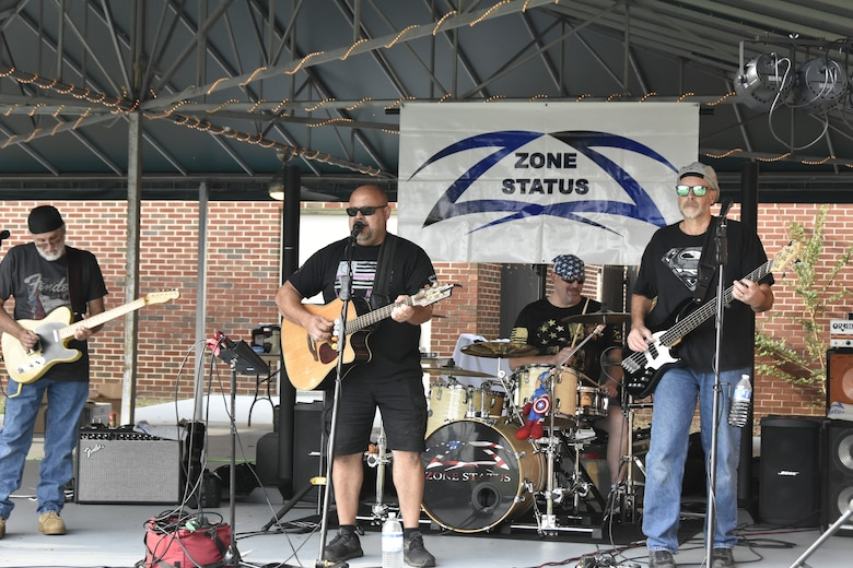 Zone Status, a group based out of Murfreesboro, performs during the Air Force birthday celebration, Sept. 18, 2020, at the Arnold Lakeside Complex on Arnold Air Force Base. The U.S. Air Force was officially established on Sept. 18, 1947. (U.S. Air Force photo by Bradley Hicks)