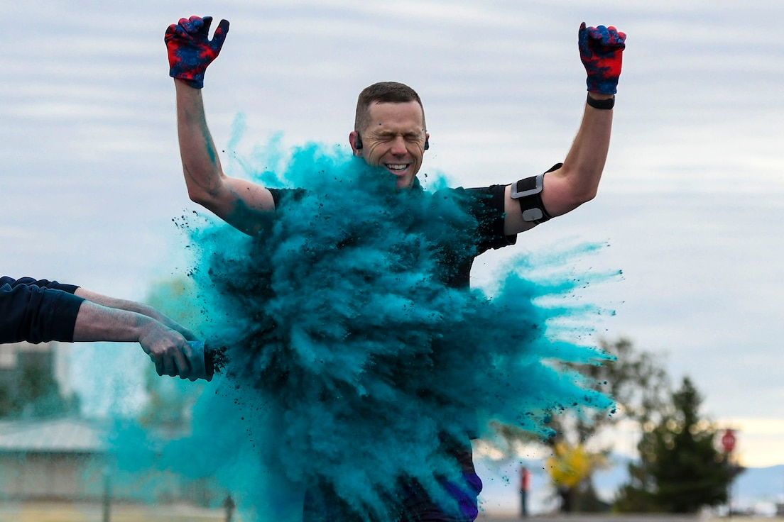 Col. Russell Williford, 341st Missile Wing vice commander, participates in a suicide awareness color run Sept. 30, 2020, at Malmstrom Air Force Base, Mont.