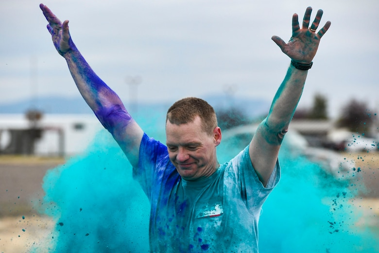 A 341st Missile Wing community member participates in a suicide awareness color run Sept. 30, 2020, at Malmstrom Air Force Base, Mont.