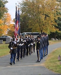 New York Army National Guard Soldiers forming a color guard  move into position during a ceremony saluting President Chester Arthur, the 21st president of the United States, at his burial site in Albany Rural Cemetery in Menands, New York, on Oct. 5, 2020. The current occupant of the White House sends a wreath to mark the gravesites of former presidents on their birthdays. The wreath is presented by a military leader. Maj. Gen. Michele Natali, the assistant adjutant general, Army, of the New York National Guard, presented the wreath.