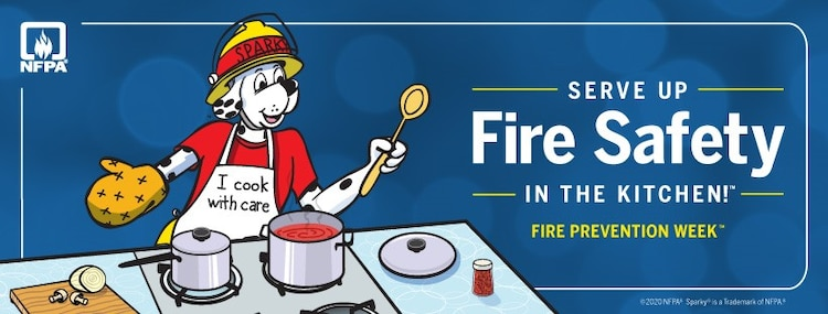"""The National Fire Protection Association, the official sponsor of Fire Prevention Week for more than 95 years, has announced """"Serve Up Fire Safety in the Kitchen"""" as the theme for Fire Prevention Week, October 4-10, 2020. NFPA's focus on cooking fire safety comes in response to home cooking fires representing the leading cause of U.S. home fires, with nearly half or 49-percent of all home fires involving cooking equipment; unattended cooking is the leading cause of these fires. (U.S. Marine Corps photo by National Fire Protection Association)."""