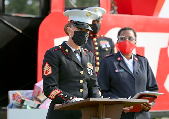 Staff Sgt. Tara Ballard, coordinator, Toys for Tots, and Capt. Rebecca Sullivan, commanding officer, Salvation Army, gathered aboard Marine Corps Logistics Base Albany to formally kickoff the 73rd annual Toys for Tots campaign, Oct. 2. (U.S. Marine Corps photo by Jennifer Parks)