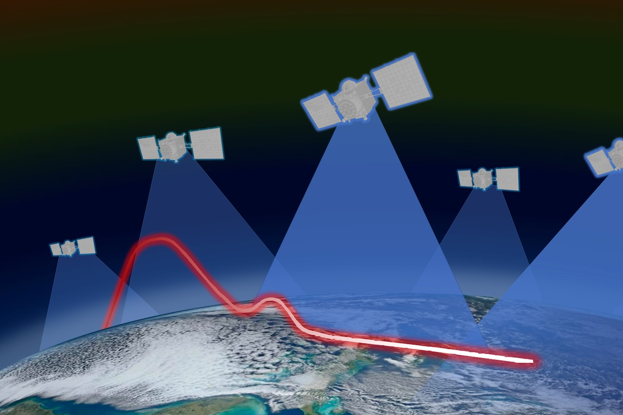 Illustrated satellites appear over Earth.