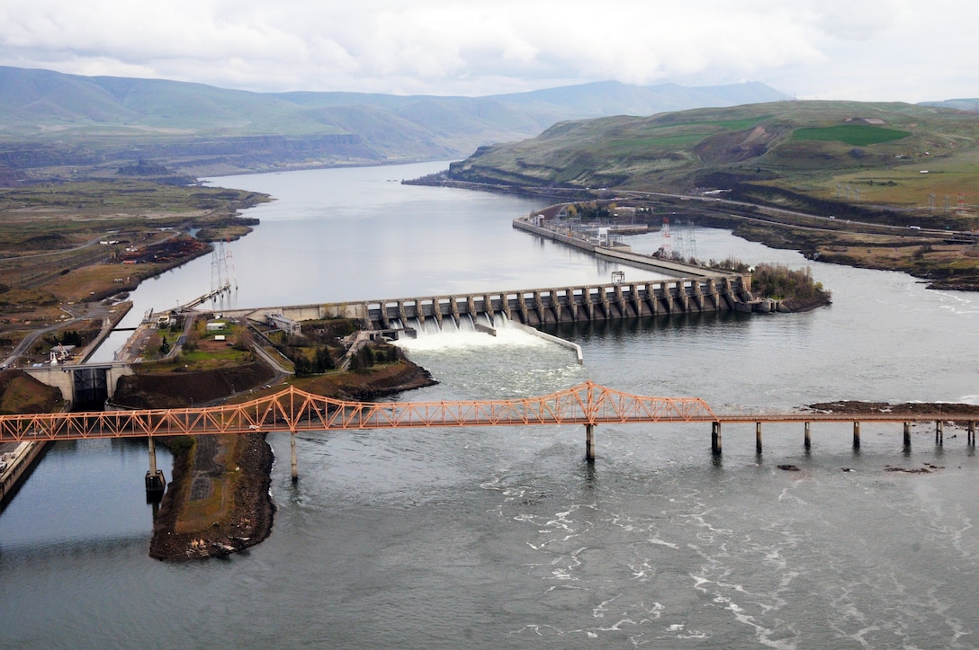 The Dalles Lock and Dam is located 192 miles upstream from the mouth of the Columbia River. It is one of the top ten largest hydropower dams in the United States! In addition to supplying hydropower to the Pacific Northwest Region, The Dalles Dam provides a reliable water source for navigation, irrigation, flood mitigation and recreation.
