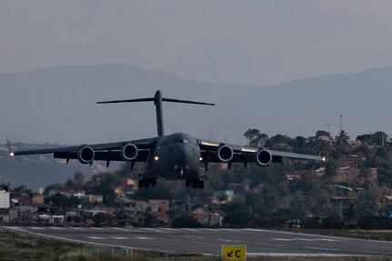 An airplane lands.