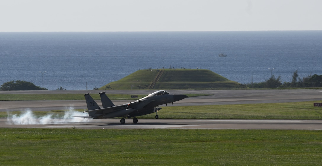 A U.S. Air Force F-15C Eagle from the 44th Fighter Squadron lands at Kadena Air Base, Japan, Oct. 3, 2020, after returning from a deployment to the U.S. Central Command theater to defend U.S. and partner nation interests, while creating logistical flexibility. During their deployment, Airmen assigned to 18th Aircraft Maintenance Squadron, 18th Component Maintenance Squadron, 18th Equipment Maintenance Squadron, 18th Munitions Squadron, 18th Maintenance Operations Flight, and 18th Operations Support Squadron along with the 44th FS supported ongoing operations maintaining air superiority, defending forces on the ground, enhancing regional partnerships, and demonstrating a continued commitment to regional security and stability. (U.S. Air Force photo by Tech. Sgt. Benjamin Sutton)