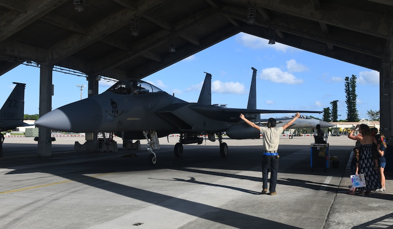 A U.S Air Force F-15C Eagle assigned to the 44th Fighter Squadron pulls into a parking spot Oct. 3, 2020, at Kadena Air Base, Japan. More than 300 Airmen assigned to the 18th Operations and Maintenance Groups as well as pilots and aircraft assigned to the 44th Fighter Squadron deployed to the U.S. Central Command theater to defend U.S. and partner nation interests. During their deployment, Airmen conducted more than 1,000 sorties and 5,300 combat hours, which drove 13 phase inspections in six months. They'll share the skills they learned in combat with Team Kadena, joint partners and allies to ensure a free and open Indo-Pacific. (U.S. Air Force photo by Tech. Sgt. Benjamin Sutton)
