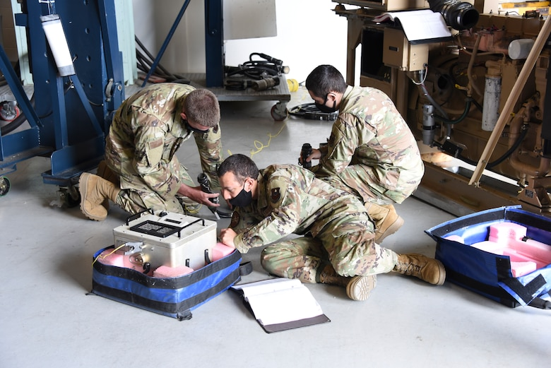 Airmen from the 532nd Training Squadron conduct an explosive set circuitry test set