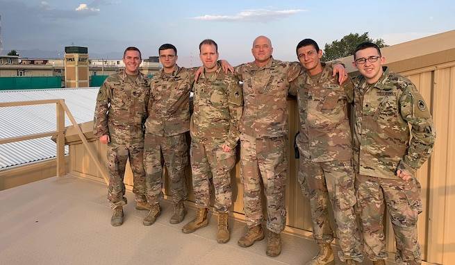 Army Space Support Team 5 forward deploys to Afghanistan summer 2020. From left to right: Cpt. Ian McQuillan, deputy officer in charge; Sgt. Jeffrey Farr, satellite communications controller; Staff Sgt. Michael Cheek, geospatial intelligence noncommissioned officer; Maj. David Maddaford, officer in charge; Staff Sgt. Hady Saleh, noncommissioned officer in charge; and Spc. Dennis Geoffroy, information technology specialist. The team belongs to 1st Space Battalion, 1st Space Brigade, U.S. Army Space and Missile Defense Command.(Courtesy photo by Maj. David Maddaford/RELEASED)
