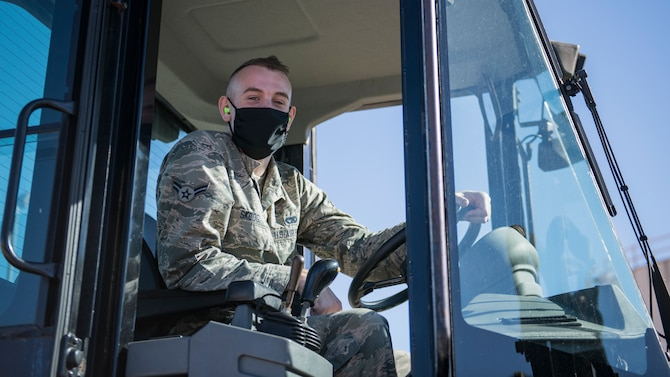U.S. Air Force Airman 1st Class Keegan Skoog, a vehicle operator with the 1st Special Operations Logistics Readiness Squadron, operates an all-forklift at Hurlburt Field, Florida, Sept. 30, 2020. Ground transportation specialists transport people, supplies, munitions and outsized expeditionary forces to assist the mission, ensuring mission essential delivery to special operations and conventional forces throughout the globe. (U.S. Air Force photo by Airman 1st Class Hailey M. Ziegler)