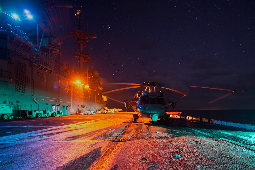 161203-N-DT061-001 MEDITERRANEAN SEA (Dec. 3, 2016). The amphibious assault ship USS Wasp (LHD 1) transits the Mediterranean Sea, Dec. 3, 2016.