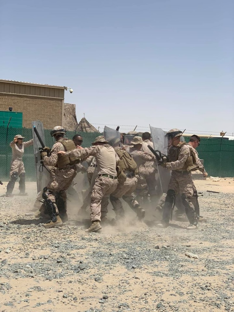 Marines assigned to CLD-25 take part in a Non-Lethal Weapons Training package intended to increase their capability to respond crisis response operations, specifically crowd control during a military assisted evacuation, as the LCE for SPMAGTF-CR-CC 20.2.