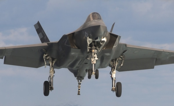 In this undated file photo, an F-35C Lightning II conducts performance trials at sea.