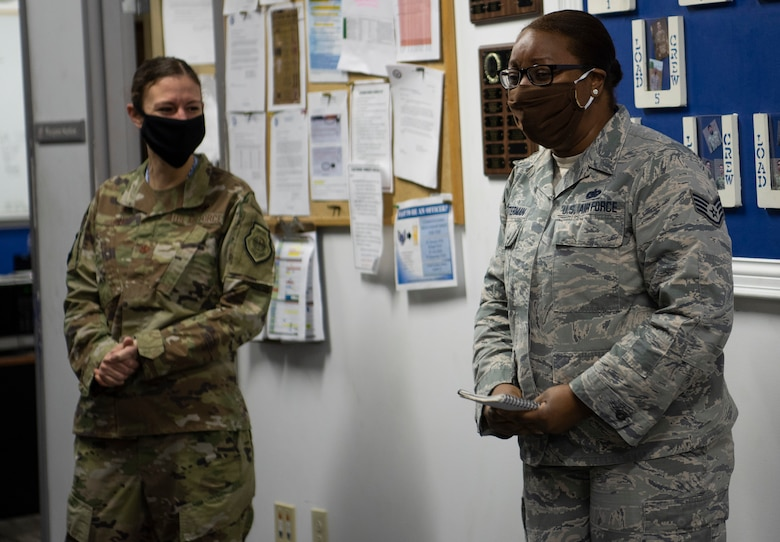 Tech. Sgt. Lateia Quarterman, 55th Fighter Generation Squadron commander support staff noncommissioned officer in charge, and Tech. Sgt. Brittany Banks, 20th Healthcare Operations Squadron non-active duty clinic NCOIC, were presented with their technical sergeant stripe for their hard work and dedication.