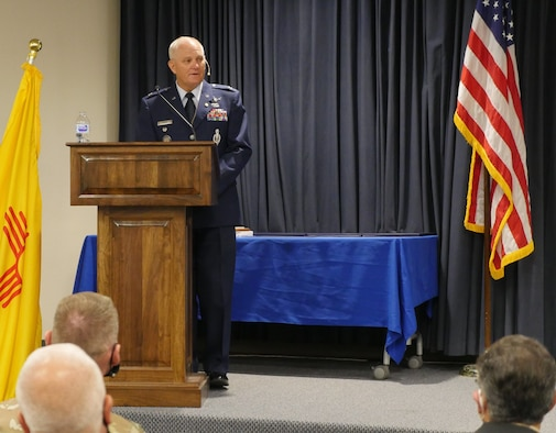 air force colonel stands at lectern