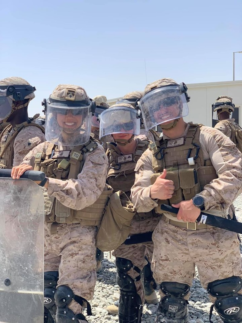 Marines assigned to CLD-25 execute a Non-Lethal Weapons Training package where they learn crowd control techniques that will assist them in crisis response operations as the LCE for SPMAGTF-CR-CC 20.2