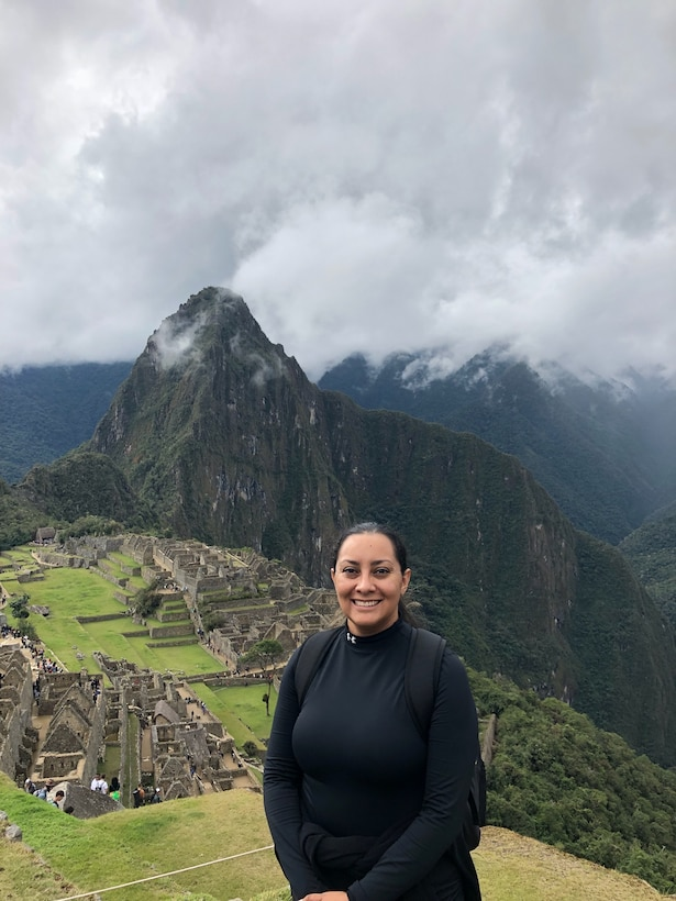 Capt. Jamillah Gonzalez, 960th Cyberspace Wing executive officer, visits Machu Picchu, Peru, during a vacation in July 2018. (Courtesy photo by Aaron Bethel)