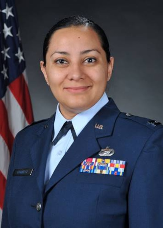 Capt. Jamillah Gonzalez, 960th Cyberspace Wing executive officer, stands for a U.S. Air Force official photo. (U.S. Air Force courtesy photo)