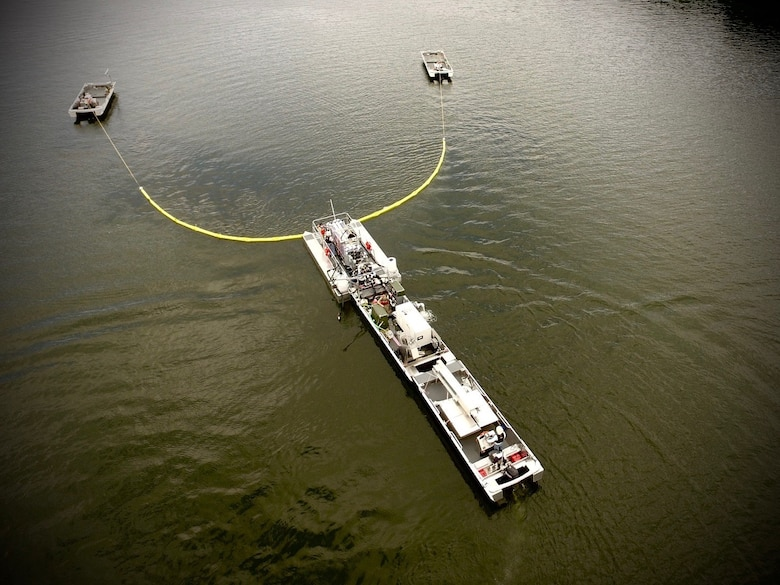 Aerial view of U.S. Army Engineer Research and Development Center (ERDC) researchers as they perform preliminary flow and operations studies on a new system for algae interception and treatment on Chautauqua Lake, N.Y. The ERDC researchers worked with Elastec, Inc. to build the initial prototype this summer. ERDC collaborated with New York State Department of Environmental Conservation (NYSDEC) scientists and industry partners to study harmful algal bloom mitigation technology in Chautauqua Lake from Aug. 19 through Sept. 4.