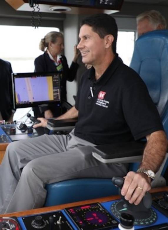 CORPUS CHRISTI, Texas (Oct 31, 2019) –Dr. Edmond Russo sits in the pilot seat while touring the Ellis Island hopper dredge.