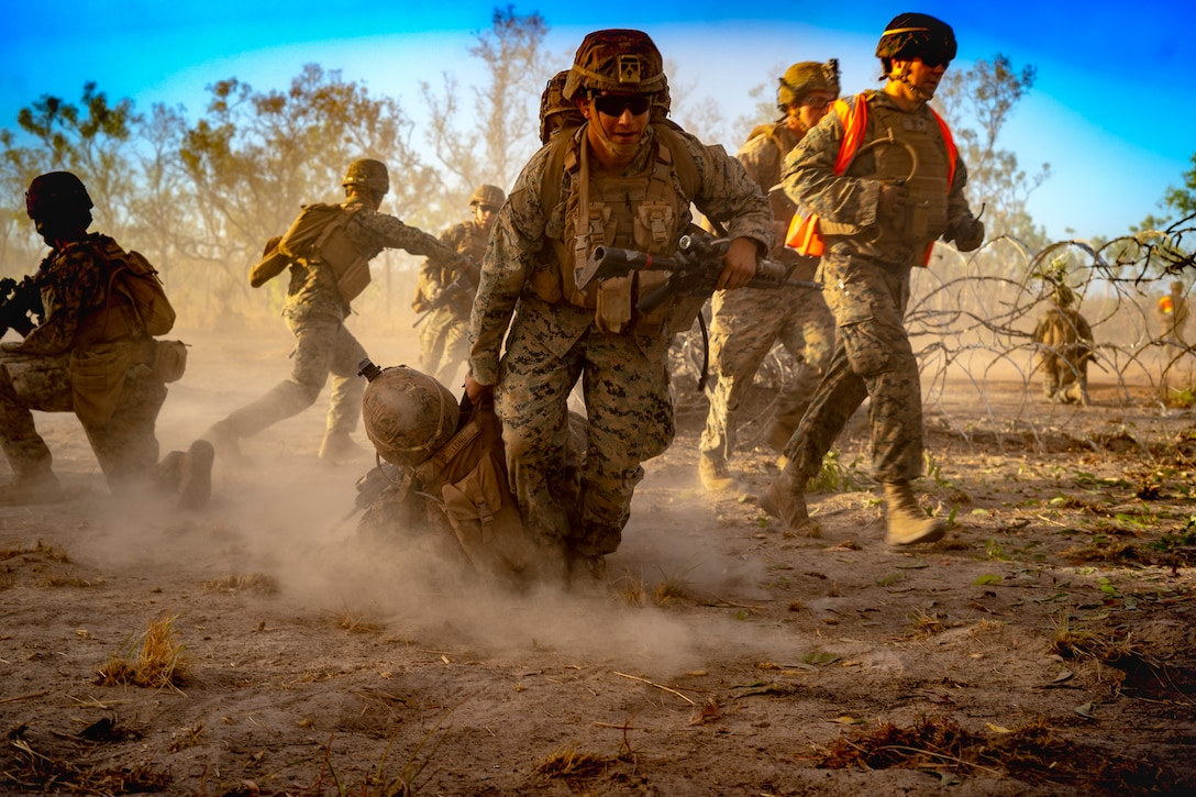 U.S. Marines conduct offensive and defensive operations at Mount Bundey Training Area, Northern Territory, Australia, Sept. 5.